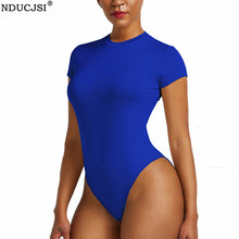 Outfit Jumpsuit Bodysuits Short-Sleeve Summer Women Tight Sexy One-Pieces Solid NDUCJSI