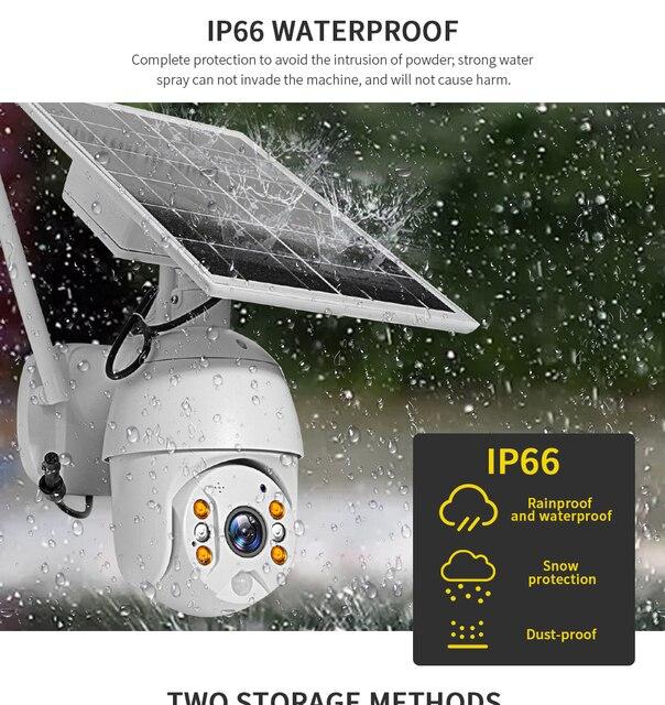 SHIWOJIA Camera 4G SIM Card 1080P HD Solar Panel Outdoor Monitoring CCTV Camera Smart Home Two-way Intrusion Alarm Long Standby 6