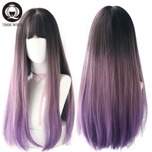 Image 3 - 7JHH WIGS Noble Light Brown Black Wigs For Women Long Remy Hair With Bangs For Girl Omber Brown Green Purple Wigs Wholesale
