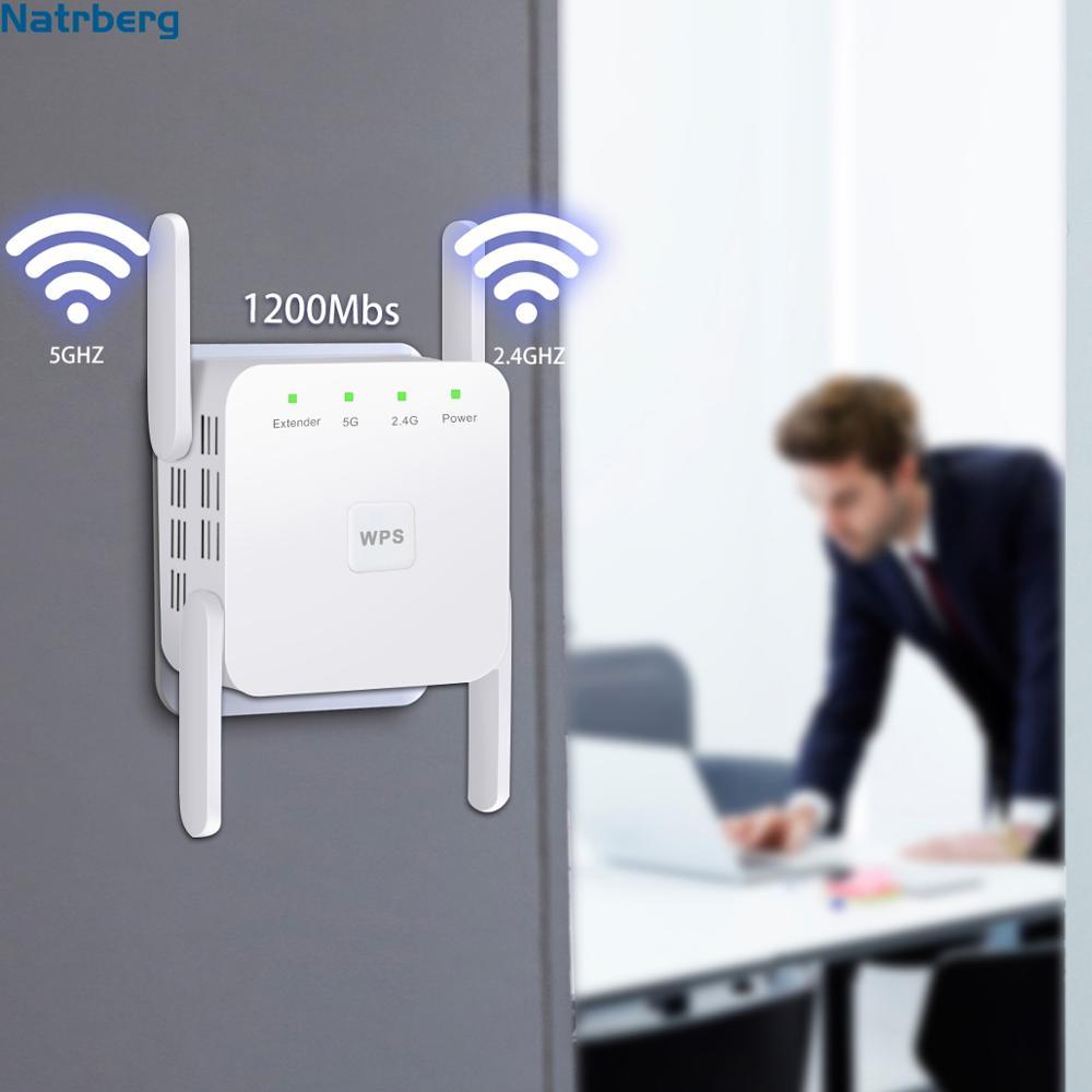 Wifi Range Extender für 2,4G/5G 1200Mbps WiFi Booster Signal Verstärker 4 Externe Antennen Booster für home Haus