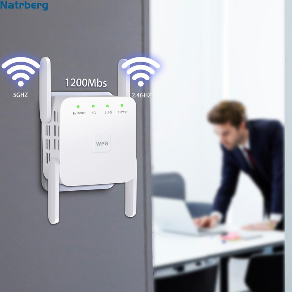 Wifi Range Extender For 2.4G/5G 1200Mbps WiFi Booster Signal Amplifier 4 External Antennas Booster For Home House