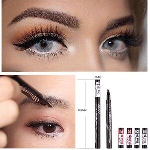 LULAA 4Color Liquid Eyebrow Enhancer Eyebrow Tattoo Pen Sketch Waterproof Eyebrow Pencil 4 Head Long-lasting Eye Makeup(China)