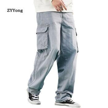 2020 Men's Light Blue Baggy Jeans With Side Pockets Hip Hop Designer Brand Skateboard Pants loose Style Plus Size 30-46 цена 2017
