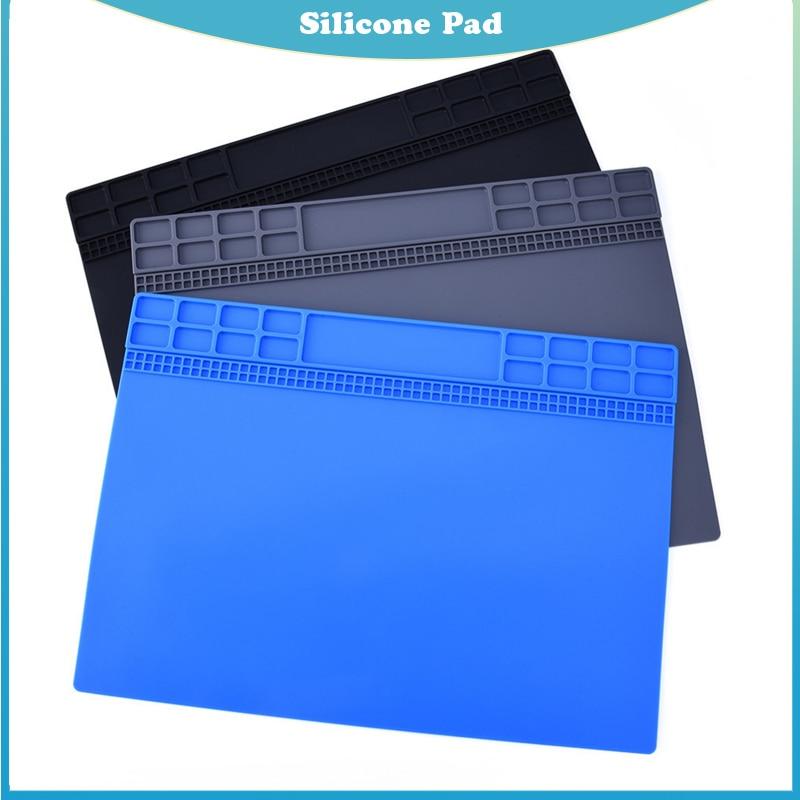 Heat Insulation Silicone Pad Desk Mat Maintenance Platform For BGA Soldering Repair Station Repair Tools Grey/black/blue