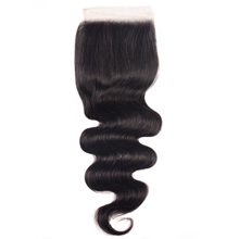 Unice Hair 4X4 PUปิดฐานผ้าไหมบราซิลBody Wave Hair Lace Closure Natural Black Remy Human Hair 10 18นิ้ว