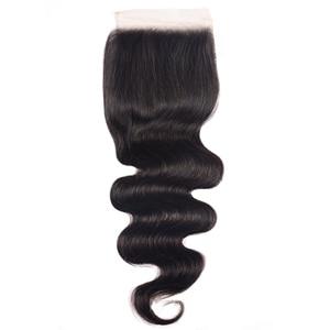 Image 1 - Unice Hair 4x4 PU إغلاق مزود بقاعدة من الحرير البرازيلي شعر مموج إغلاق الدانتيل الطبيعي الأسود ريمي الشعر البشري 10 18 Inch