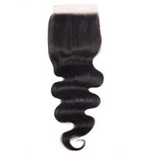 Unice Hair pelo brasileño ondulado 4x4 con cierre de seda, cabello humano Remy negro Natural de 10 18 pulgadas
