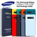 Оригинальный чехол S10 для Samsung Galaxy S10 Plus S10e, шелковистый силиконовый чехол высокого качества, мягкий на ощупь защитный чехол для задней панел...