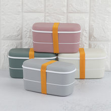 Plastic Lunch Box Cute Bento Kids Lunch Box 2 Layers(China)