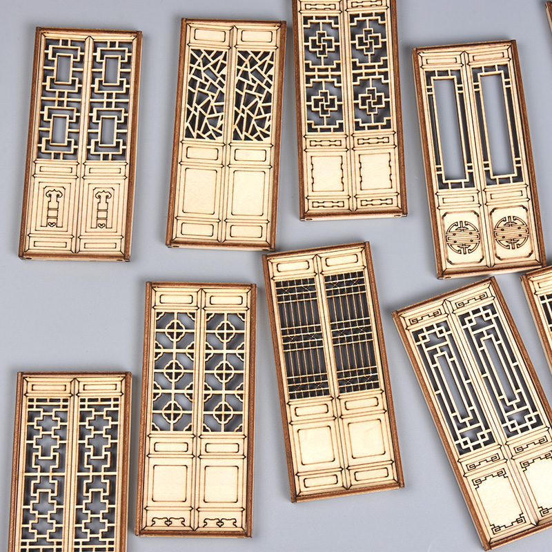 3pcs Dollhouse Mini Furniture Miniature Doll Accessories Chinese Style Wooden Movable Door Model Building Material