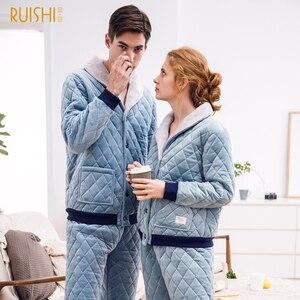 Image 3 - 2020 カップル夜のスーツ男性と女性厚いビロードパジャマセット冬パジャマホームウェア暖かいパジャマカップルマッチングパジャマ