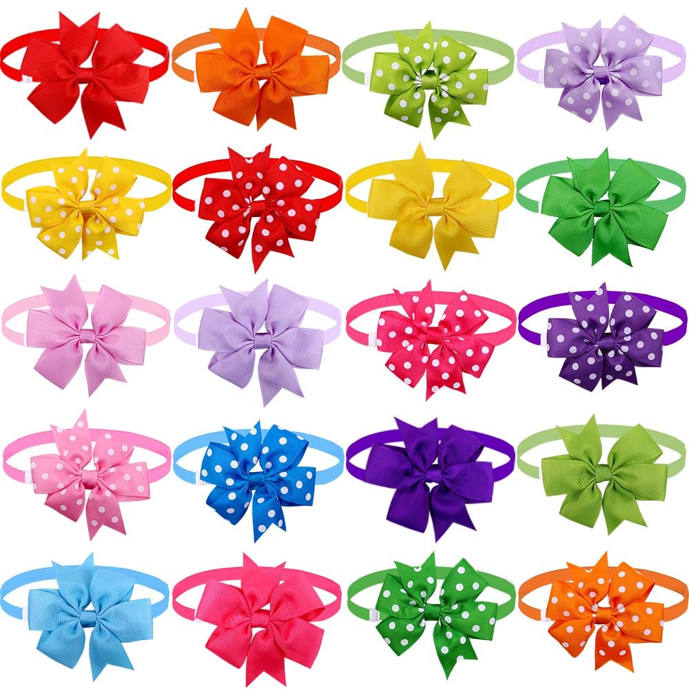 50 шт. кошка собака галстук-бабочка, сплошного цвета или в точку, ПЭТ бантики воротник маленькая собака Кот галстук-бабочка средних собак Ухо...
