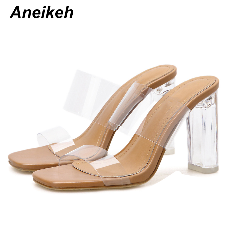 Aneikeh Fashion Clear Heels Slippers Sandals Summer Shoes Woman Transparent Slippers High Heels Pumps Leisure Flip Flops Mules