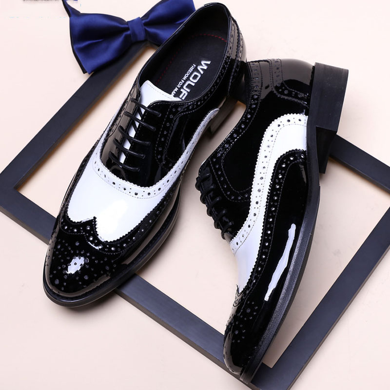 Luxury Oxfords Men Dress Shoes 2019 Classic Black And White Formal Business Wedding Shoes Genuine Leather Brogue Shoes