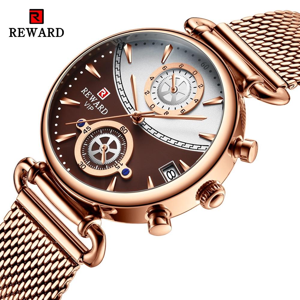 REWARD Women Watches Fashion Rose Gold Female Clock Business Quartz Watch Ladies Stainless Steel Waterproof Wrist Watch Relogio 1