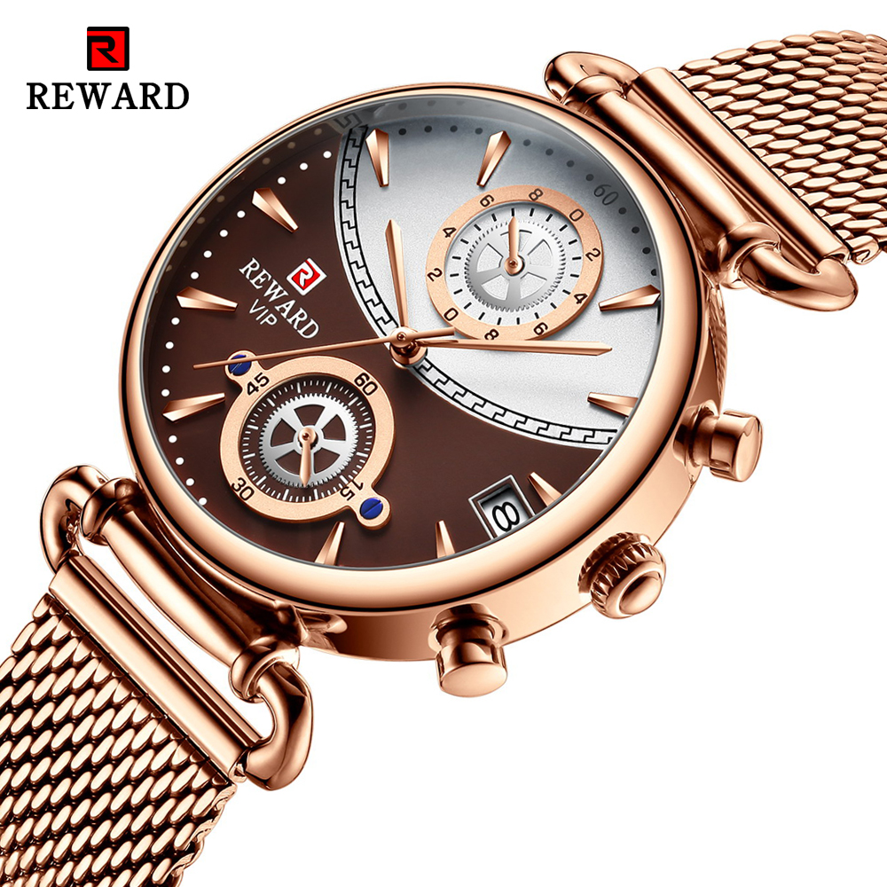 REWARD Women Watches Fashion Rose Gold Female Clock Business Quartz Watch Ladies Stainless Steel Waterproof Wrist Watch Relogio