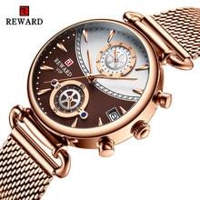 Recompensa relógios femininos moda rosa ouro feminino relógio de quartzo negócio senhoras relógio de pulso à prova dwaterproof água aço inoxidável relogio