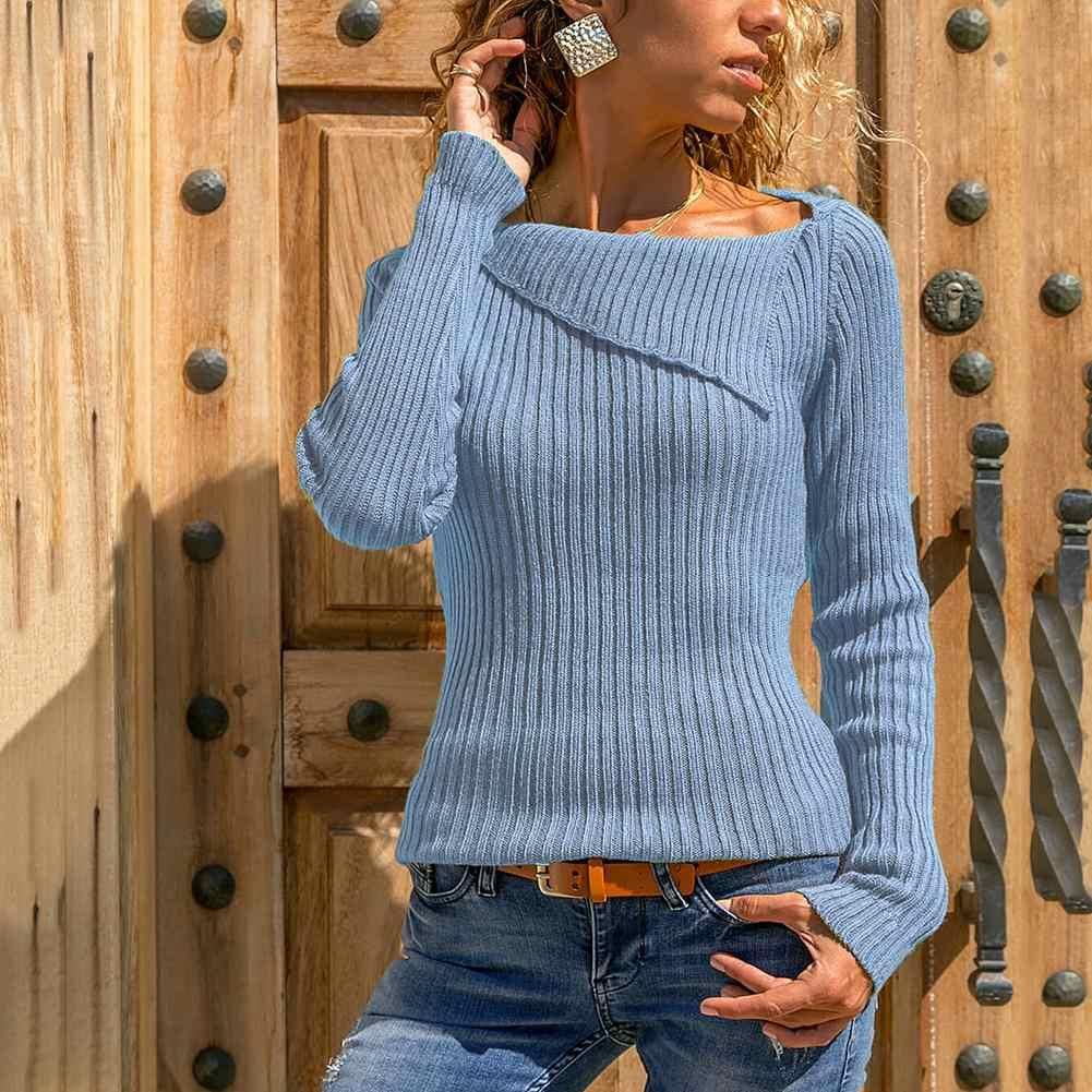 סתיו חורף סוודר נשים אופנה בתוספת גודל מוצק צבע דש סרוג סוודרים ג 'רזי mujer נשים Jumper סוודר למשוך femme