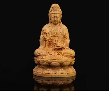 """3.9"""" China Box-wood Hand Carved Sit Lotus Kwan-yin Guan Yin Boddhisattva Statue"""