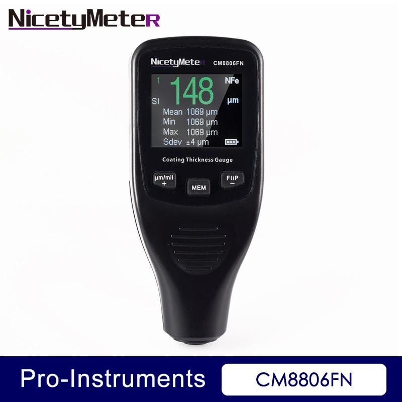 NICETYMETER CM8806FN Probador de medidor de espesor de revestimiento de carrocería 50mil 1250um Herramienta de detallado Medidor de pintura automática con luz de fondo