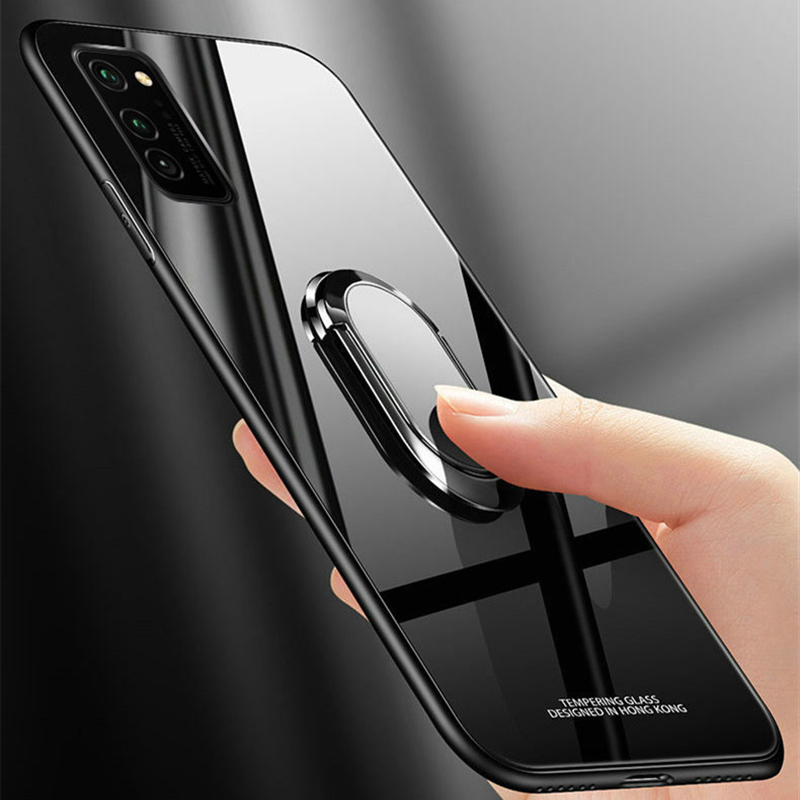 Tempered Glass Case For Samsung Galaxy A51 Case Luxury Ring Holder Hard Phone Cover For Galaxy A71 S20 Note 10 Lite S10 Lite