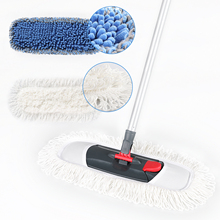 Cleanhome Microfiber Mop with Adjustable Stainless Steel Handle  Chenille and Polyester Pad for Kitchen Bedroom Cleaning