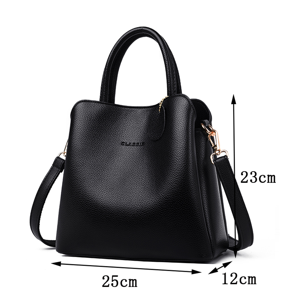 Image 4 - New 3 Main Pocket Leather Luxury Handbags Women Bags Designer  Female Croosbody Bags For Women Small Casual Tote Bag Sac A  MainTop-Handle Bags