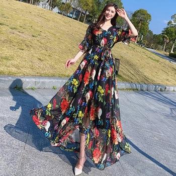 Bell Sleeve Floral Print Bohemia Elegant Plus Size Full Length Maxi Dress Holiday Beach Bridesmaid Sundress Plus Sizes 1