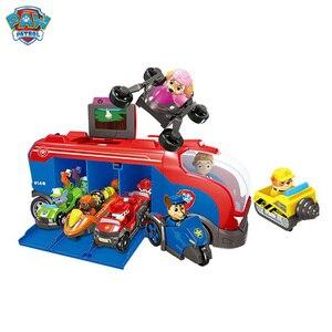 Image 2 - Serie di cani di pattuglia della zampa Set Bus squadra di salvataggio Toy Car Patrulla Canina Action Figure Toy Model bambini regalo di compleanno di natale
