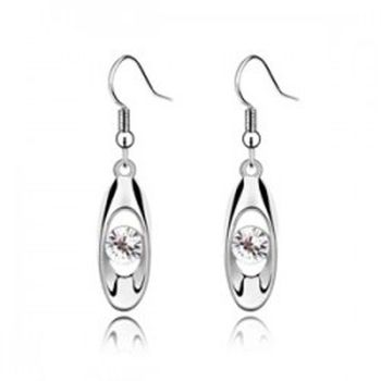 100% Fine ladies transparent classic earrings 925 sterling silver white earrings ear hook bride Christmas gift E082 image
