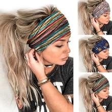 Women Fashion Sport 3D Print Stretchy Headband Breathable Quick Dry Yoga Running Hair Band Elastic Non-slip Turban Headwraps
