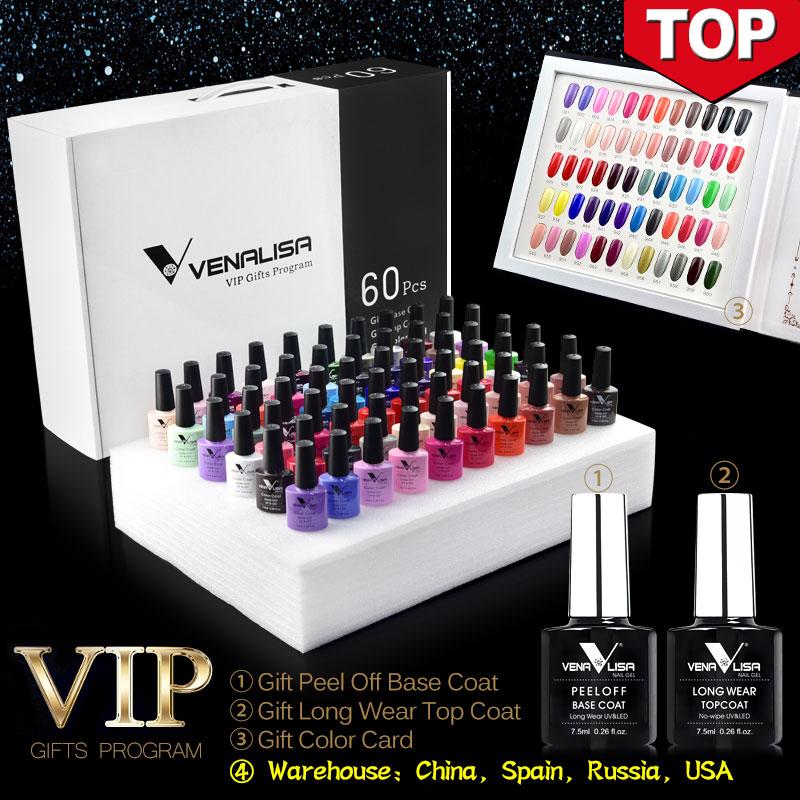 Venalisa - vernis gel multicouleurs, vernis gel 60 nouvelles couleurs de mode, vernis gel coloré pour un design artistique des ongles, kit d'apprentissage complet pour le vernis à ongle, 2019 #61508