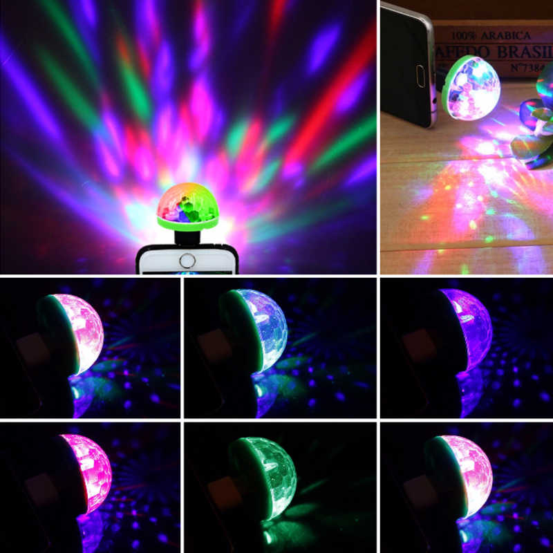 Mini USB Disco Licht LED DJ Party Lichter Tragbare Kristall Magic Ball Bunte Wirkung Bühne Lampe Für Home Party Decor garten Hause