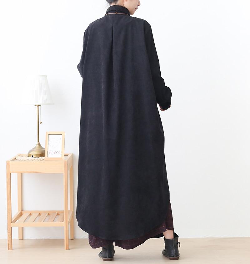 New Autumn 2020 Large Size Loose Black Shirt Coat Women Korea Fashion New Loose Street Wear Long Sleeve Irregular Long Jacket