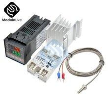 Thermostat numérique PID LCD, relais à semi-conducteurs, régulateur de température, avec dissipateur thermique de Type K