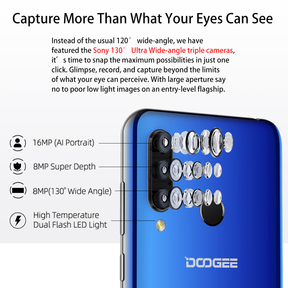 Image 2 - DOOGEE N20 Mobilephone Fingerprint 6.3inch FHD+ Display 16MP Triple Back Camera 64GB 4GB MT6763 Octa Core 4350mAh Cellphone LTE-in Cellphones from Cellphones & Telecommunications