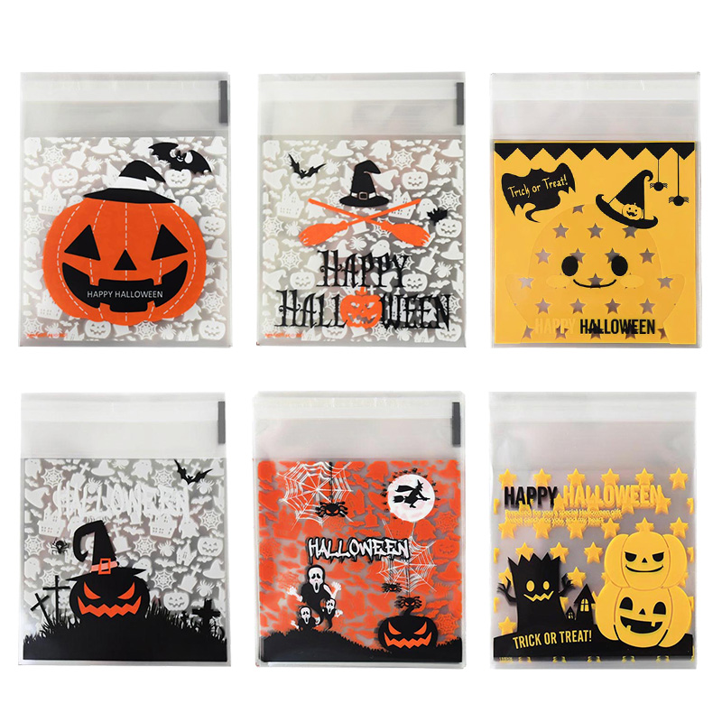Sachets pour bonbons dhalloween, 50/100 pièces, sachets demballage en plastique pour Biscuits, Snack, fournitures de décoration de fête dhalloween