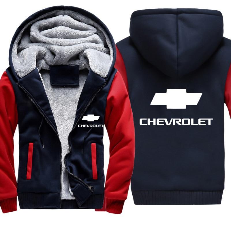 Hoodies Men Chevrolet Car Logo Jacket Men Hoodies Casual Winter Thicken Warm Fleece cotton Zipper Raglan Coat Male Tracksuits