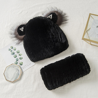 Lantafe Hat And Scarf Fur Hat Rex Rabbit Fur Winter Accessories Warm Multi piece Cat Ear Hat Knitted Lining Stripe Weave