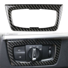 Para BMW F30 F31 F32 F33 F34 Serie 3 328i 325i 2012-2020 linterna Auto interruptor Interior de marco de recorte cubierta de fibra de carbono ABS