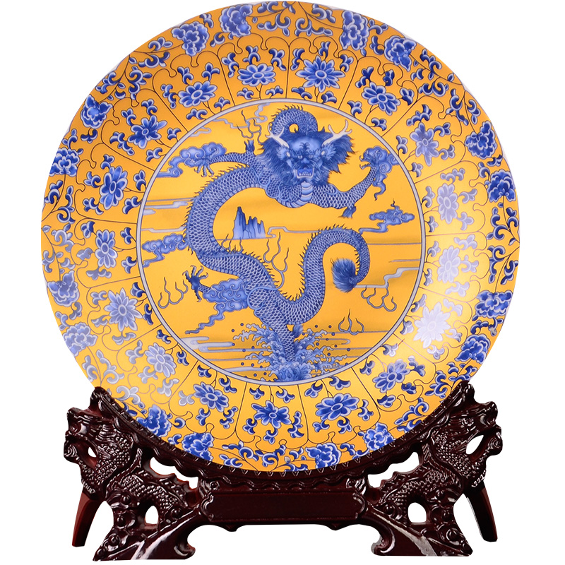 Jingdezhen Ceramic Decorative Plate Hanging Plate Golden Dragon Household Ornament Living Room Porch Handicraft Ornament