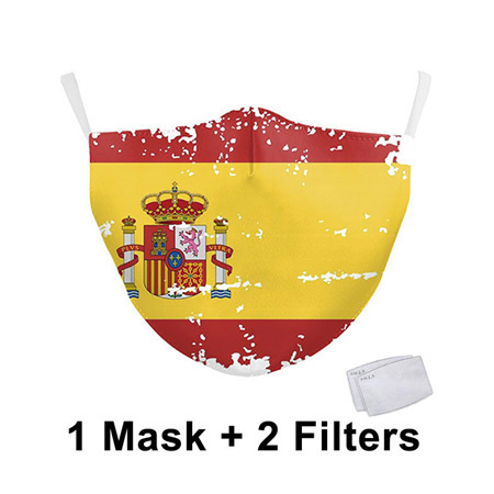 Italy Spain Country Flag Printed Cloth Mask Washable Reusable Face Masks Fabric Adult PM2.5 Mask Filter Protective Mouth Mask 2
