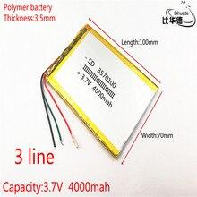 3 線 3570100 3.7 v 4000 3000mah のポリマーリチウム電池イオン電池タブレット pc 7 インチ 8 インチ 9 インチ