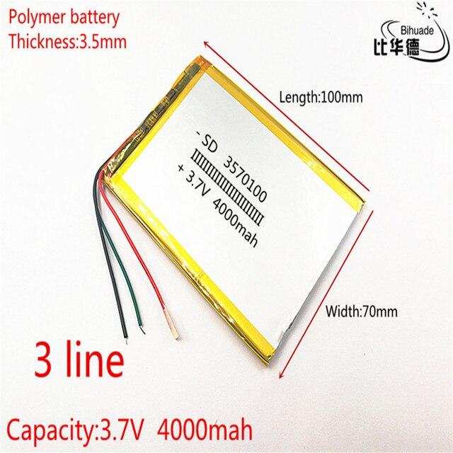3 drut 3570100 3.7V 4000mAH polimerowy akumulator litowo jonowy akumulator litowo jonowy do tabletu 7 cali 8 cali 9 cali