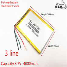 3 wire 3570100 3.7V 4000mAH polymer lithium ion battery Li ion battery for tablet pc  7 inch 8 inch 9inch