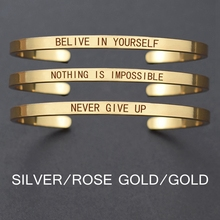 Churchill Quote Never Give UpMotivational Stainless Steel Engraved Bracelets Life Jewelry Graduation Bangle Gifts