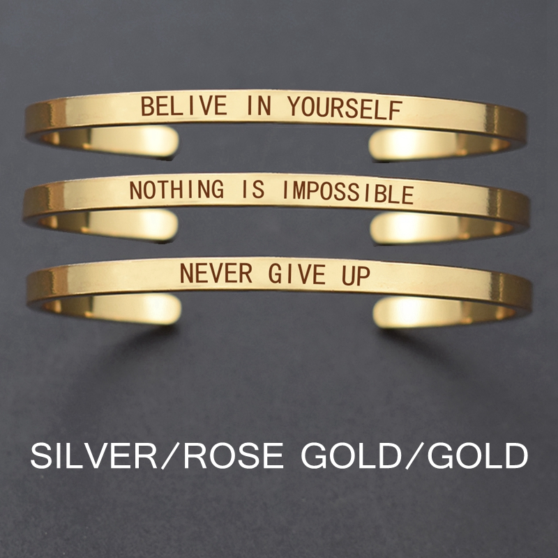 """Churchill Quote """"Never Give Up""""Motivational Stainless Steel Engraved Bracelets Life Quote Jewelry Graduation Bangle Gifts"""