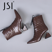 Checkered-Boots Pointed-Toe Winter Woman Genuine-Leather Ladies JSI Cross-Tied C774 High-Strange