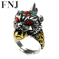 FNJ Good Luck Pixiu Ring 925 Silver Original S925 Sterling Silver Rings for Women Men Jewelry USA Size 8 11.5 Red Green Stone