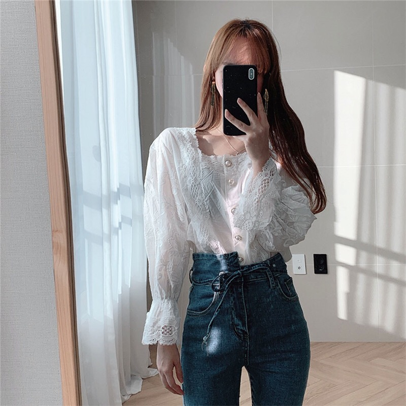 H0c2a17265a094a88a6b6af7c0b75592fl - Spring / Autumn Square Collar Flare Sleeves Hollow Out Pearl Buttons Blouse